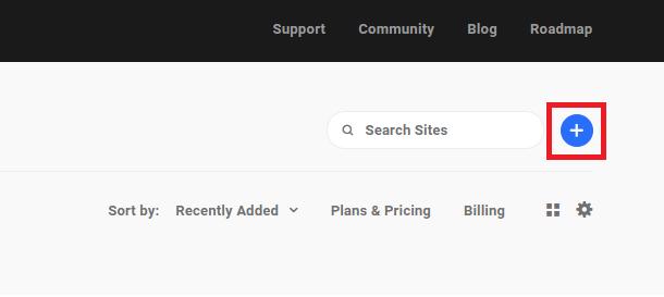 plus icon to open hosting tools