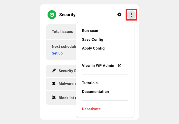 Security module settings dropdown menu