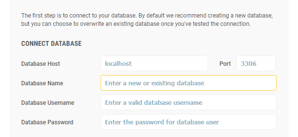 Snapshot installer database connection step