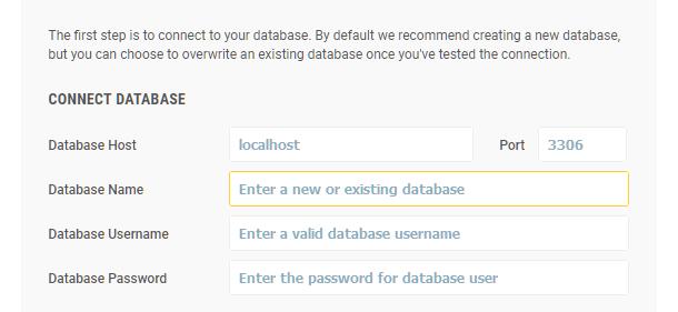 Snapshot installer database connection step