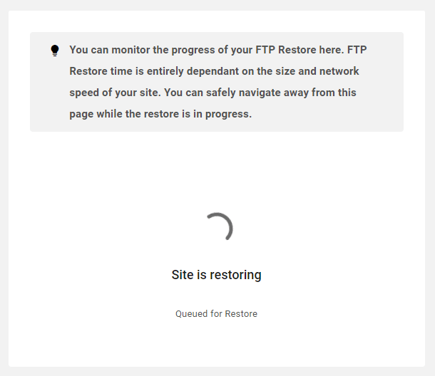 FTP backup restore progress in the Hub