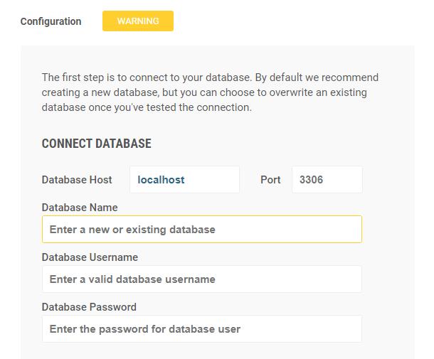 Snapshot installer database connection