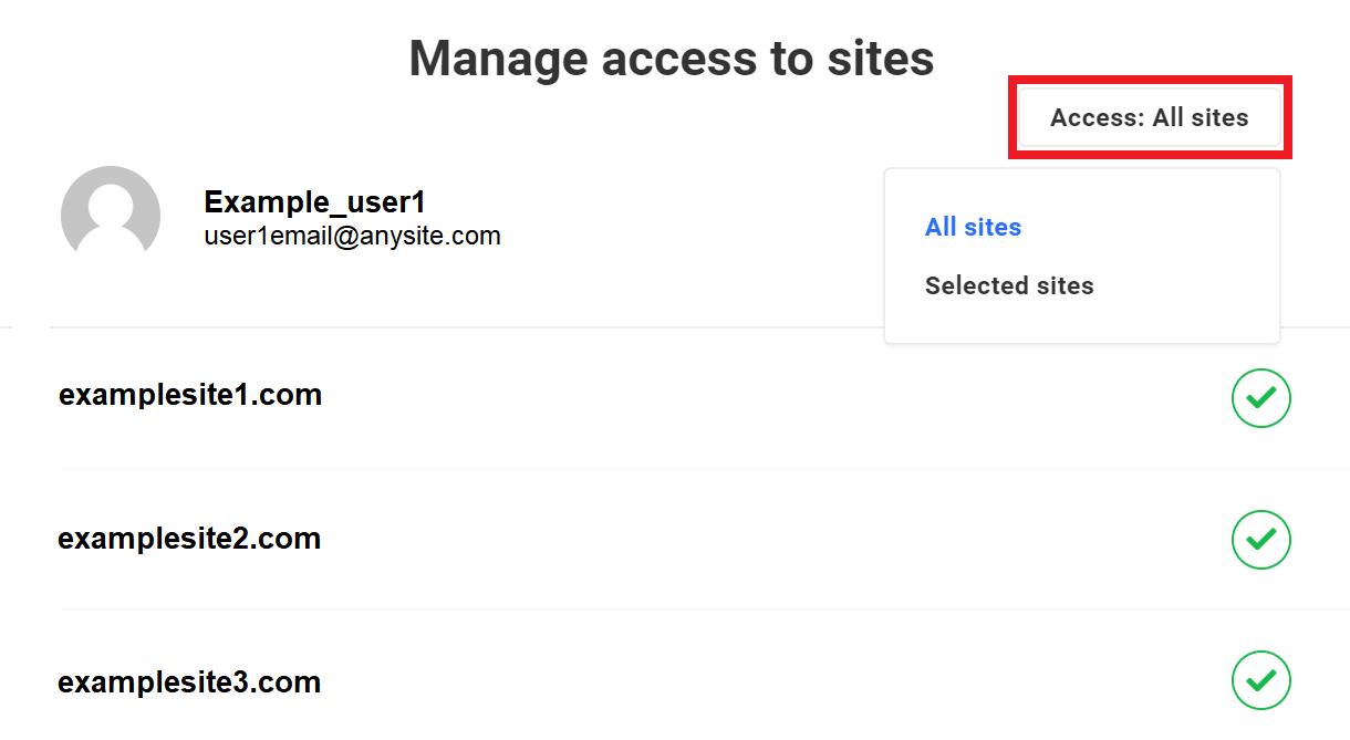 users and roles manage access drop down