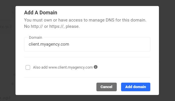 add domain modal