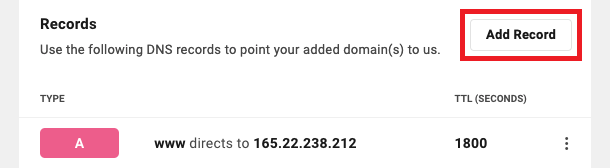 Allows the user to add a new DNS record for a domain.