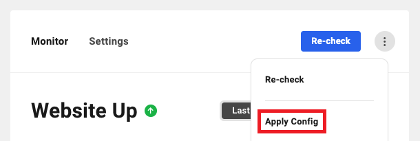 Allows the user to apply saved Uptime Monitor settings to a site.