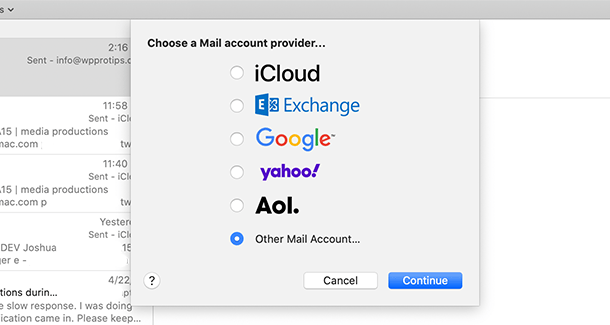 apple mail connect to Hub options