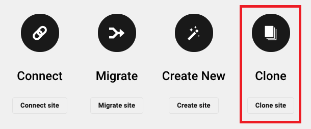 Allows the user to create a new hosted site by cloning from an existing hosted site.