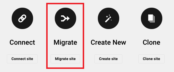 Allows the user to create a new hosted site by migrating from an existing connected site.