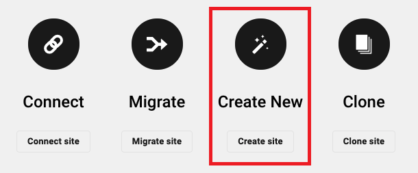 Allows the user to create a new hosted site.