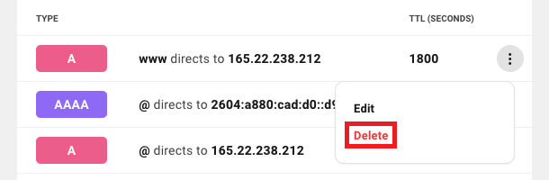 Allows the user to remove an existing DNS record from a domain.