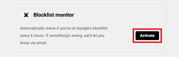 Allows the user to activate blocklist monitoring for a site.