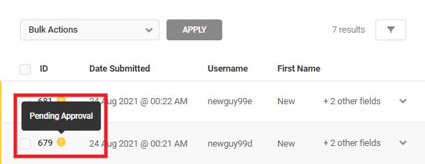 User registration pending