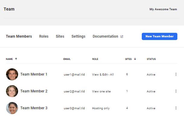 Team list in the Hub