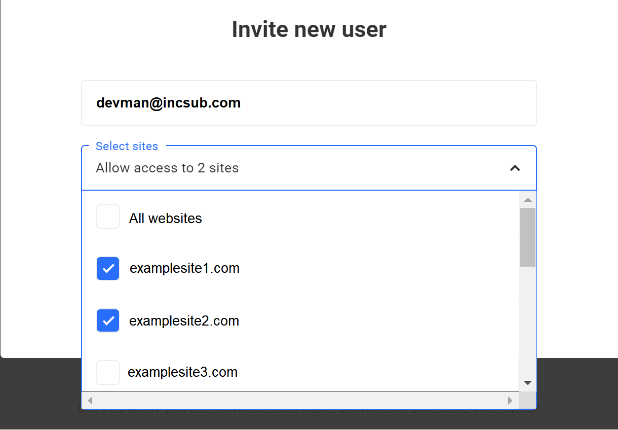 select a site drop down