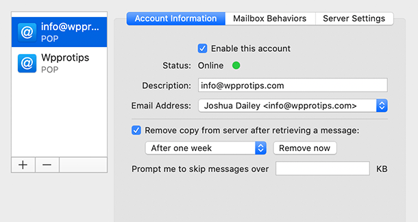 Apple Mail Configuration options