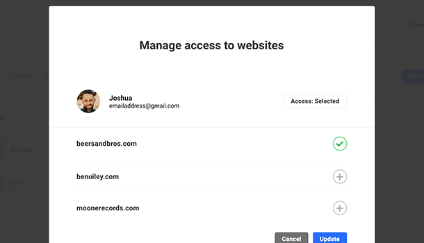 Manage access to websites for users