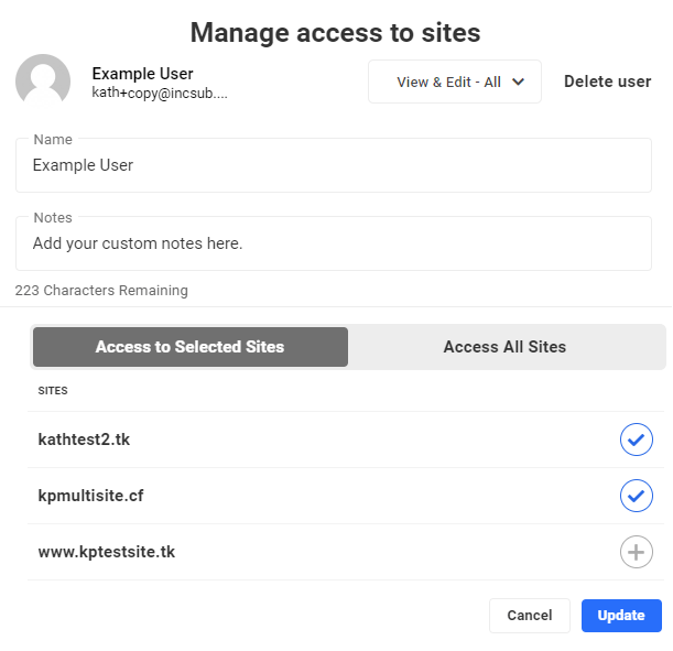 manage user access to sites