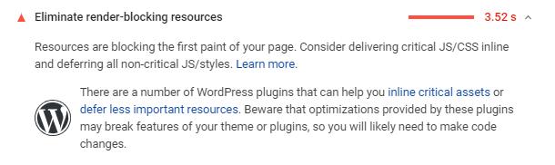 Google PageSpeed render blocking metric
