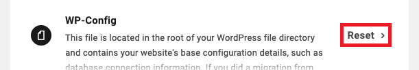 Allows the user to reset a site's wp-config.php file to its default state.