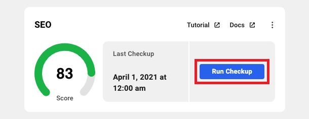 Allows the user to run a Smartcrawl SEO checkup on a site.