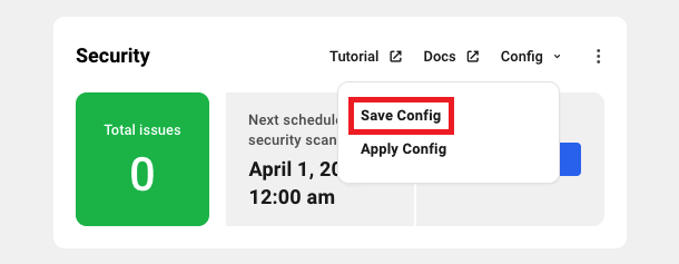 Allows the user to save the current security settings for a site.