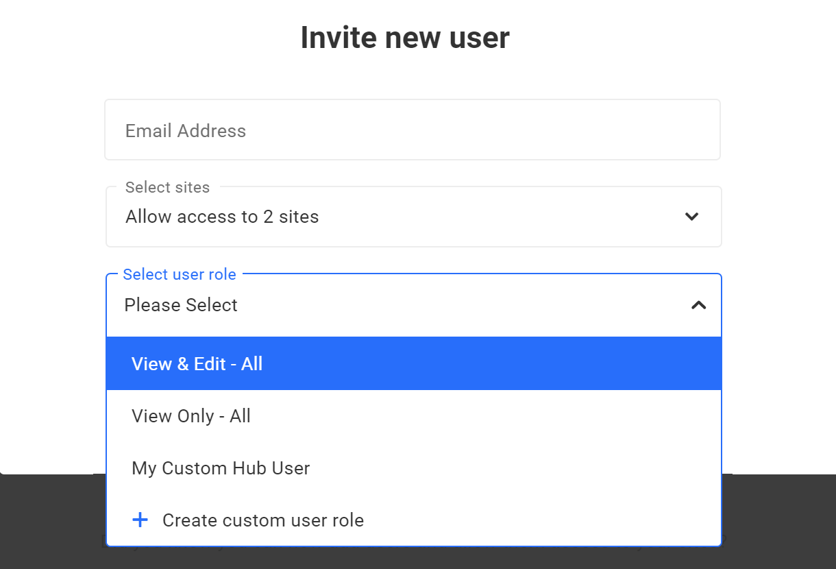 invite new user select role