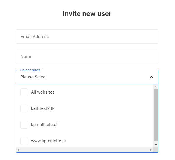 select sites for new user