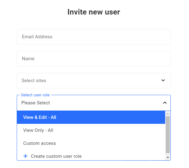 select user role for new user