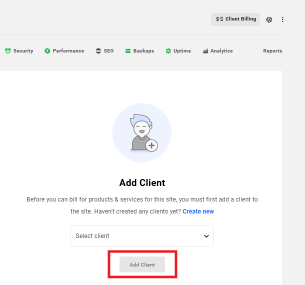 Allows the user to add and/or edit the client attached to a site.