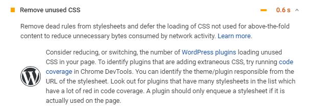Google PageSpeed remove unused CSS metric