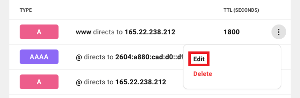 Allows the user to modify an existing DNS record for a domain.