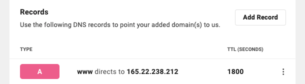 Allows the user to view the DNS records for a domain.