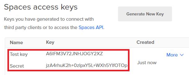 access key credentials digital ocean