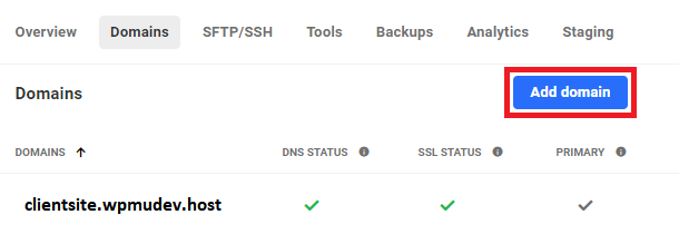 add domain button in site domains