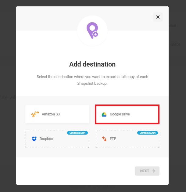add google drive as new destination