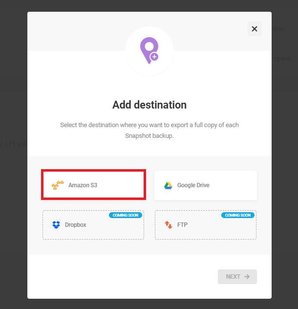 add new amazon s3 third-party destination