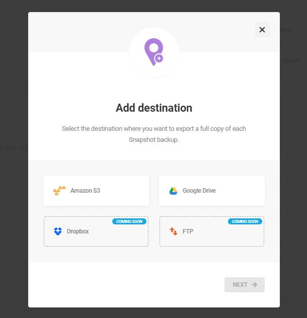 add new third-party destination