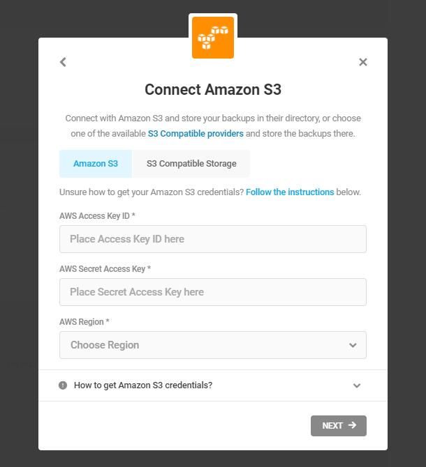 connect amazon s3