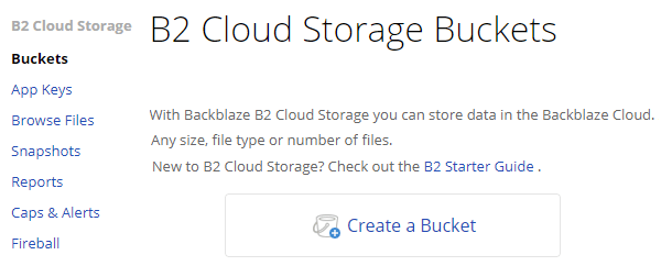 create a backblaze bucket