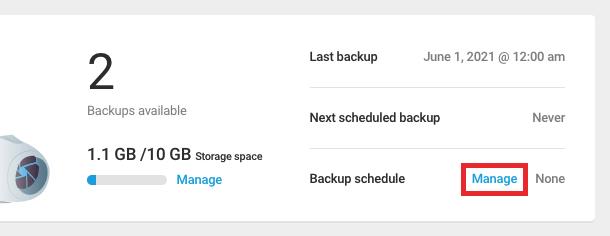 Create a backup schedule