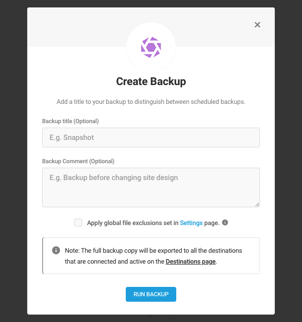 Create a manual backup