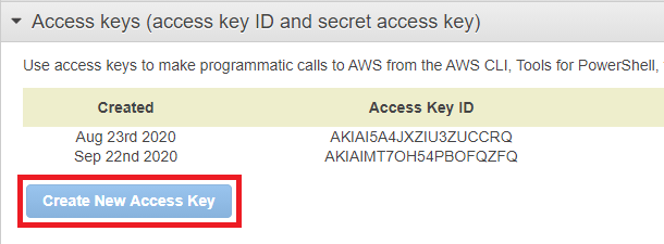 create new access key in amazon s3