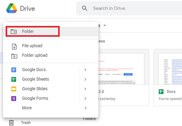 create new google drive folder