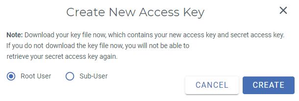 create root user access key wasabi