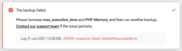 Error: snapshot_failed_SiteNotRespondedError