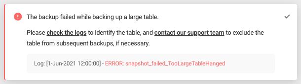 Error: snapshot_failed_TooLargeTableHanged