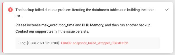 Error: snapshot_failed_Wrapper_DBlistFetch