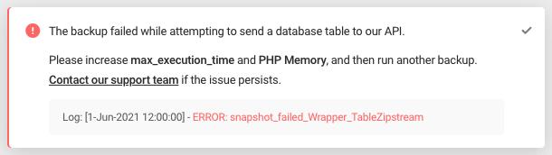 Error: snapshot_failed_Wrapper_TableZipstream