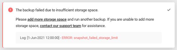 Error: snapshot_failed_storage_limit